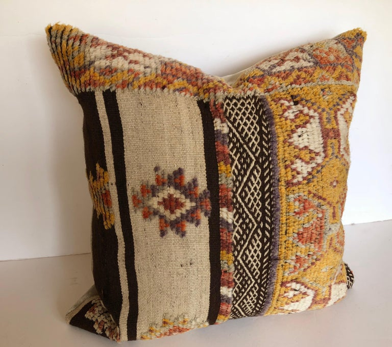 Tribal Custom Pillow by Maison Suzanne Cut from a Vintage Wool Moroccan Glaoui Rug For Sale
