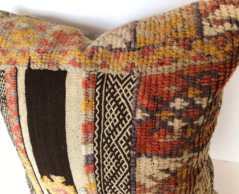 Custom Pillow by Maison Suzanne Cut from a Vintage Wool Moroccan Glaoui Rug In Good Condition For Sale In Glen Ellyn, IL