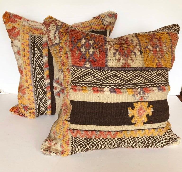Custom Pillow by Maison Suzanne Cut from a Vintage Wool Moroccan Glaoui Rug For Sale 1