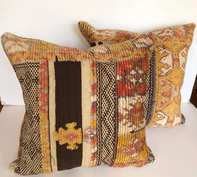 20th Century Custom Pillow by Maison Suzanne Cut from a Vintage Wool Moroccan Glaoui Rug For Sale