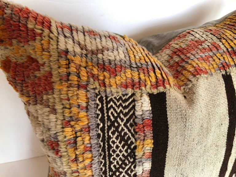 Hand-Woven Custom Pillow by Maison Suzanne Cut from a Vintage Wool Moroccan Glaoui Rug For Sale