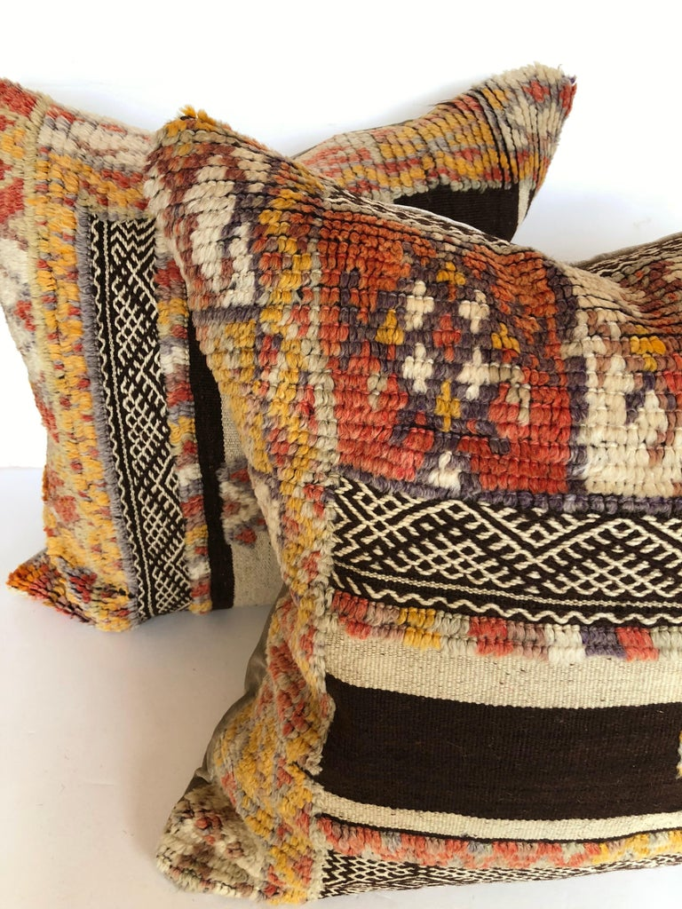 Custom Pillow by Maison Suzanne Cut from a Vintage Wool Moroccan Glaoui Rug For Sale 3