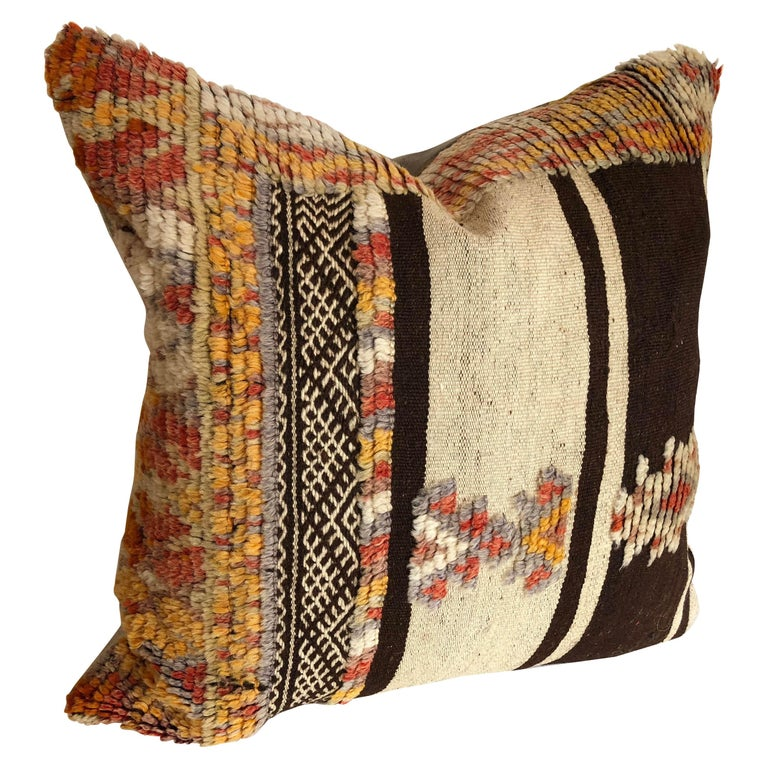 Custom Pillow by Maison Suzanne Cut from a Vintage Wool Moroccan Glaoui Rug For Sale