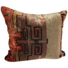 Custom Pillow by Maison Suzanne Cut from an Amsterdam School Silk Mohair Textile