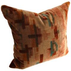 Custom Pillow Cut from a Vintage Amsterdam School Velvet textile, Netherlands