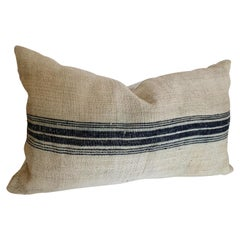 Custom Pillow Cut from a Vintage German Handwoven Hemp and Linen Grainsack