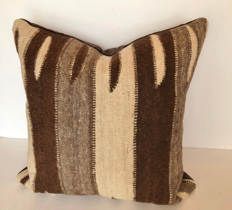Mid-Century Modern Custom Pillow by Maison Suzanne, Cut from a Vintage Wool Moroccan Berber Rug For Sale