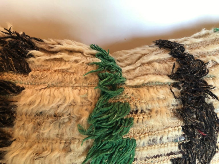 Hand-Woven Custom Pillow Cut from a Vintage Hand Loomed Wool Moroccan Berber Rug For Sale