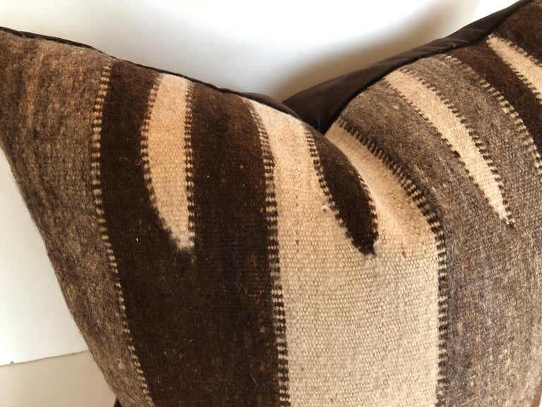 Hand-Woven Custom Pillow by Maison Suzanne, Cut from a Vintage Wool Moroccan Berber Rug For Sale