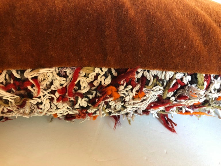 Custom Pillow Cut from a Vintage Hand Loomed Wool Moroccan Berber Rug In Good Condition For Sale In Glen Ellyn, IL
