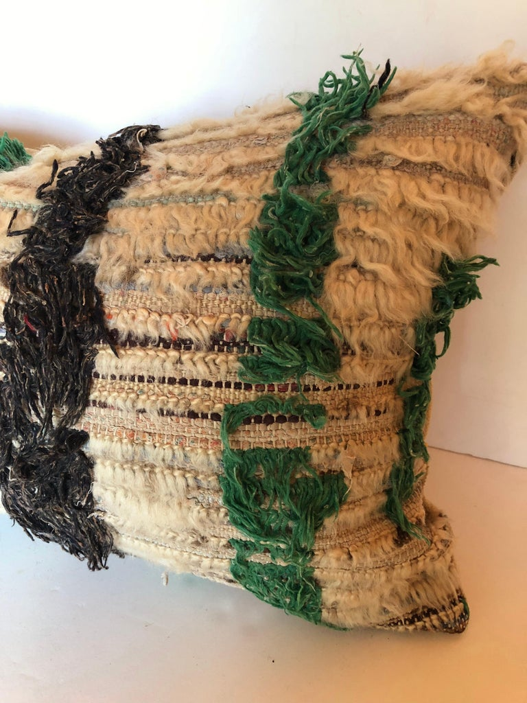 20th Century Custom Pillow Cut from a Vintage Hand Loomed Wool Moroccan Berber Rug For Sale