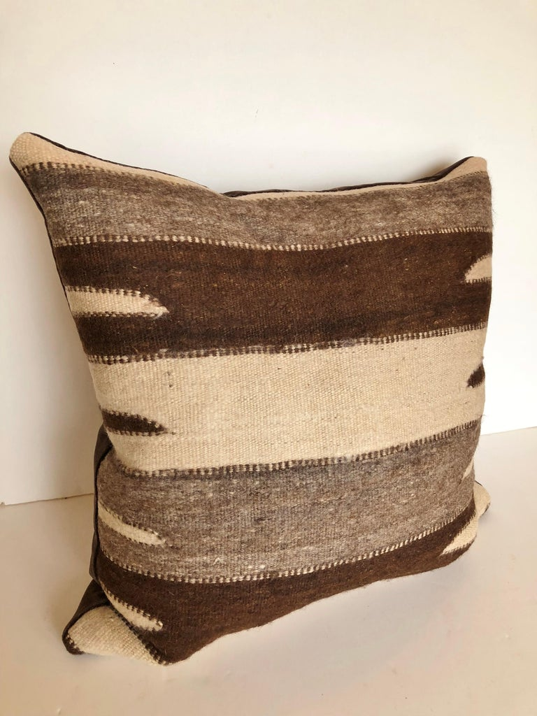 20th Century Custom Pillow by Maison Suzanne, Cut from a Vintage Wool Moroccan Berber Rug For Sale