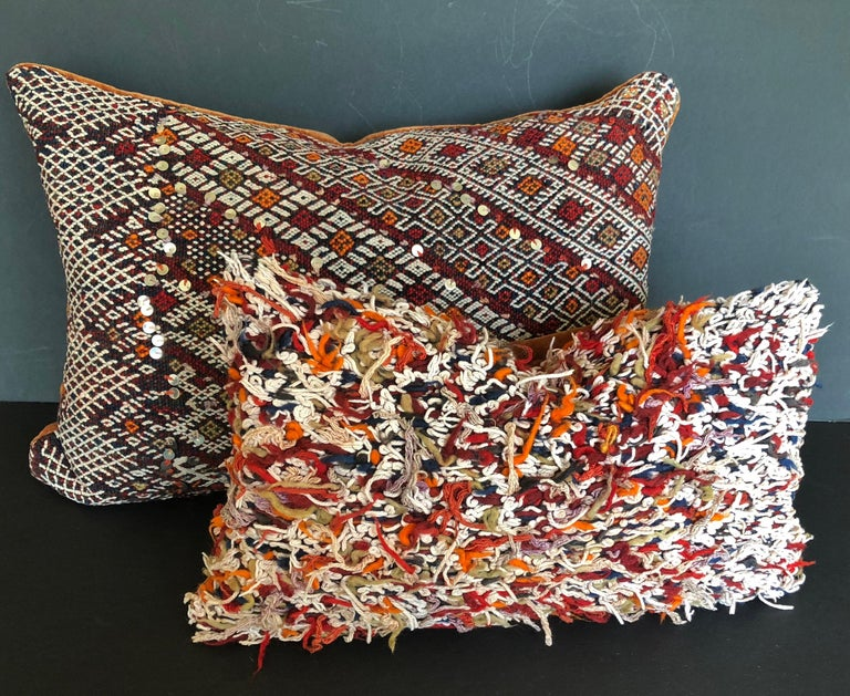 Custom Pillow Cut from a Vintage Hand Loomed Wool Moroccan Berber Rug For Sale 2