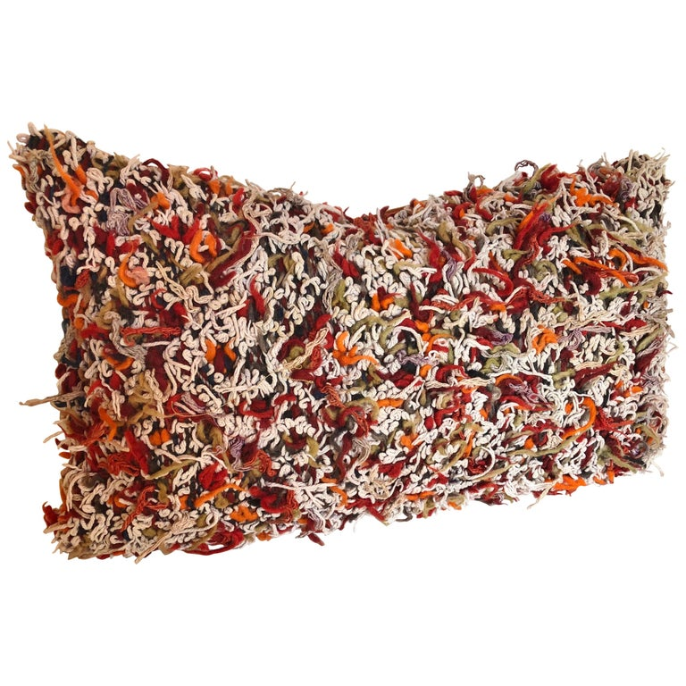 Custom Pillow Cut from a Vintage Hand Loomed Wool Moroccan Berber Rug For Sale