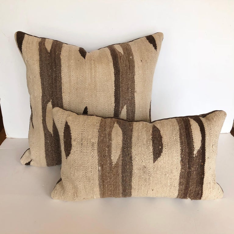 Mid-Century Modern Custom Pillow by Maison Suzanne, Cut from a Moroccan Vintage Wool Ourika Rug For Sale