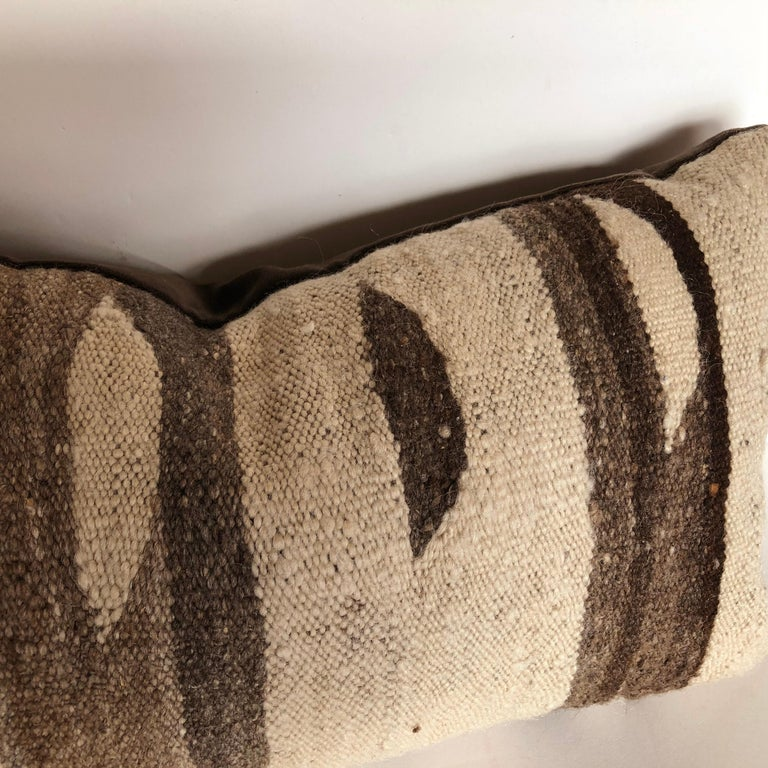 Hand-Woven Custom Pillow by Maison Suzanne, Cut from a Moroccan Vintage Wool Ourika Rug For Sale