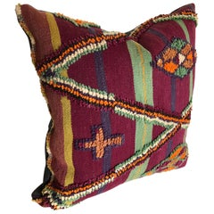 Custom Pillow by Maison Suzanne Cut from a Vintage Hand-Loomed Wool Moroccan Rug