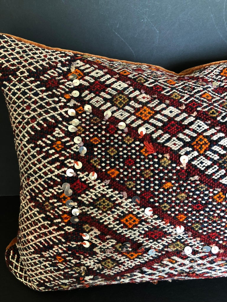 Tribal Custom Pillow Cut from a Vintage Hand Loomed Wool Moroccan Rug For Sale