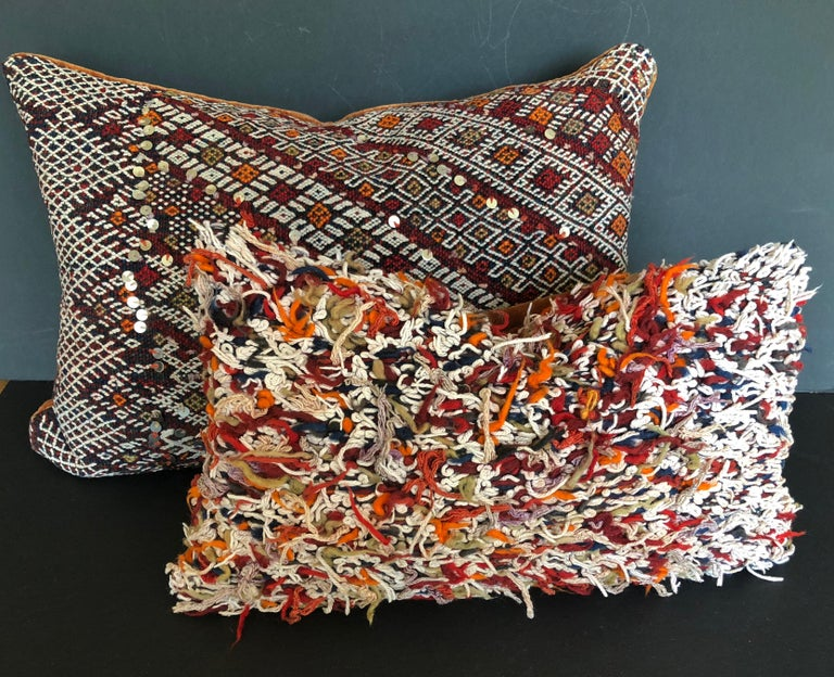 Hand-Woven Custom Pillow Cut from a Vintage Hand Loomed Wool Moroccan Rug For Sale