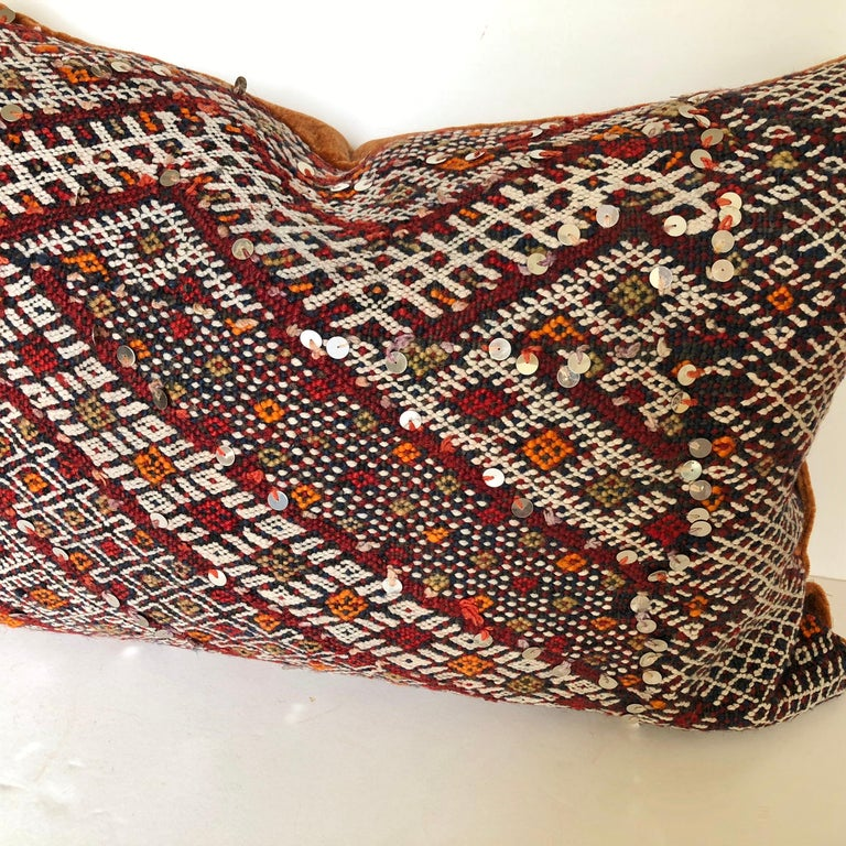 20th Century Custom Pillow Cut from a Vintage Hand Loomed Wool Moroccan Rug For Sale