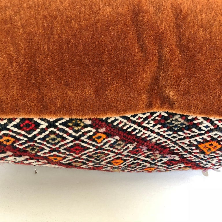 Custom Pillow Cut from a Vintage Hand Loomed Wool Moroccan Rug For Sale 1