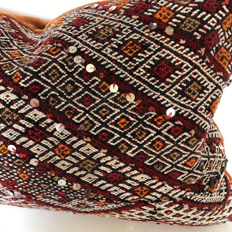 Custom Pillow Cut from a Vintage Hand Loomed Wool Moroccan Rug For Sale 2