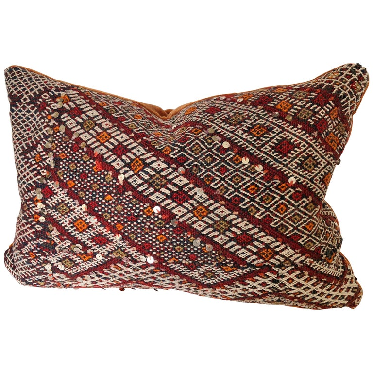 Custom Pillow Cut from a Vintage Hand Loomed Wool Moroccan Rug For Sale