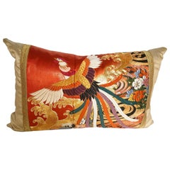 Custom Pillow Cut from a Vintage Japanese Silk Uchikake, Wedding Kimono