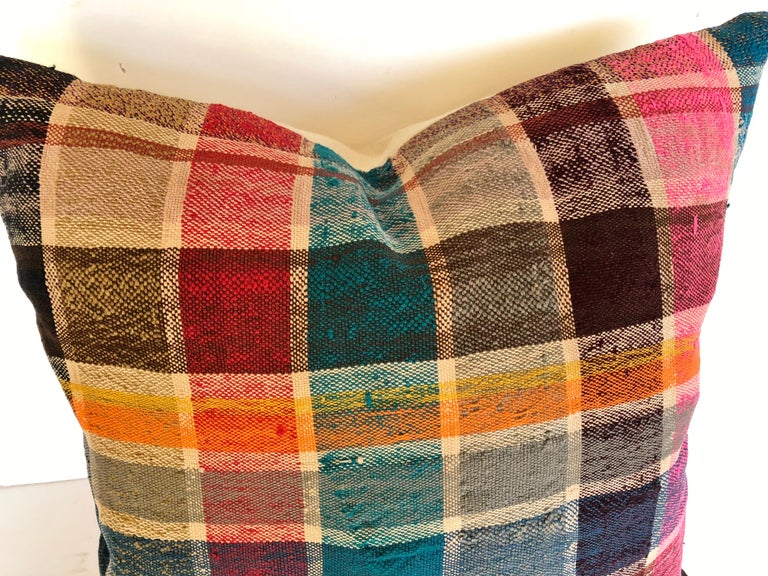 Tribal Custom Pillow by Maison Suzanne, Cut from a Vintage Moroccan Cotton Berber Haik For Sale