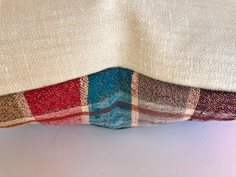 Hand-Woven Custom Pillow by Maison Suzanne, Cut from a Vintage Moroccan Cotton Berber Haik For Sale