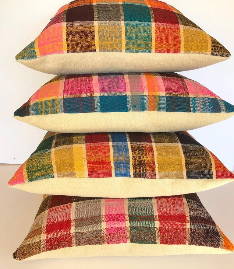 20th Century Custom Pillow by Maison Suzanne, Cut from a Vintage Moroccan Cotton Berber Haik For Sale