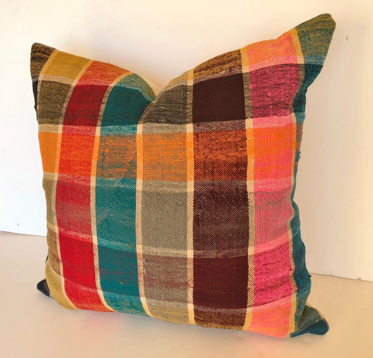 Custom Pillow by Maison Suzanne, Cut from a Vintage Moroccan Cotton Berber Haik For Sale 1