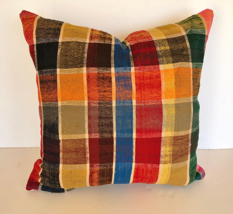 Custom Pillow by Maison Suzanne, Cut from a Vintage Moroccan Cotton Berber Haik For Sale 2
