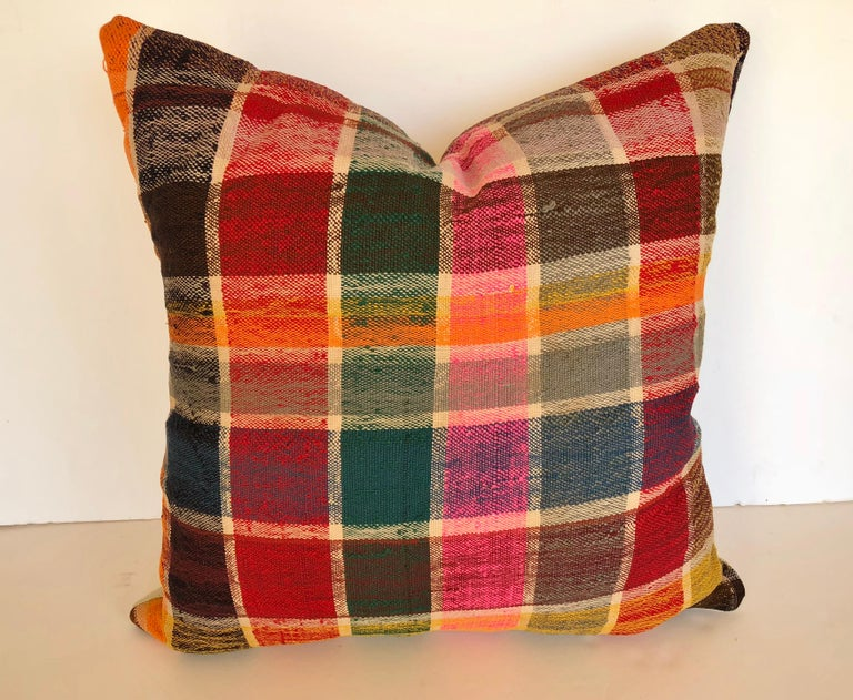 Custom Pillow by Maison Suzanne, Cut from a Vintage Moroccan Cotton Berber Haik For Sale 3