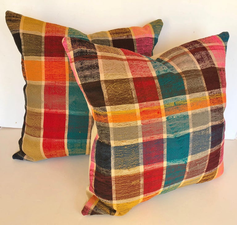 Hand-Woven Custom Pillow by Maison Suzanne Cut from a Vintage Moroccan Cotton Haik  For Sale