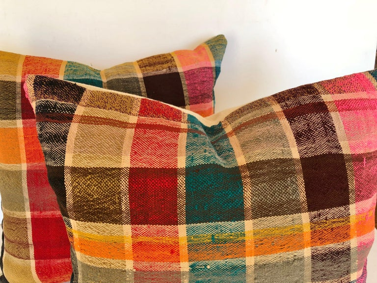 Custom Pillow by Maison Suzanne Cut from a Vintage Moroccan Cotton Haik  In Good Condition For Sale In Glen Ellyn, IL