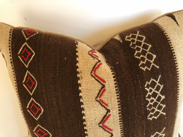 Hand-Woven Custom Pillow by Maison Suzanne, Cut from a Vintage Moroccan Wool Ourika Rug For Sale