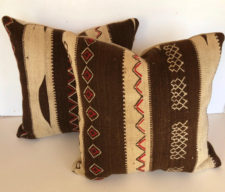 Custom Pillow by Maison Suzanne, Cut from a Vintage Moroccan Wool Ourika Rug In Good Condition For Sale In Glen Ellyn, IL