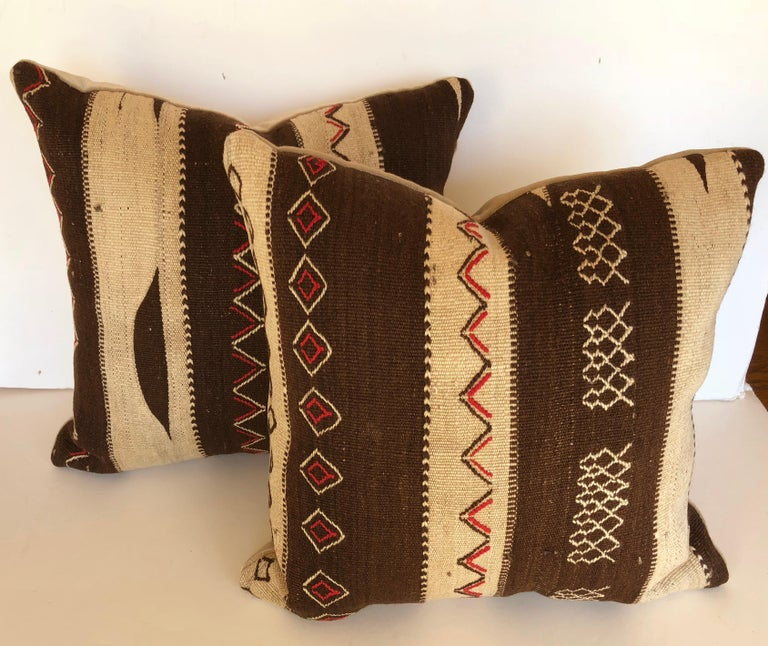 20th Century Custom Pillow by Maison Suzanne, Cut from a Vintage Moroccan Wool Ourika Rug For Sale