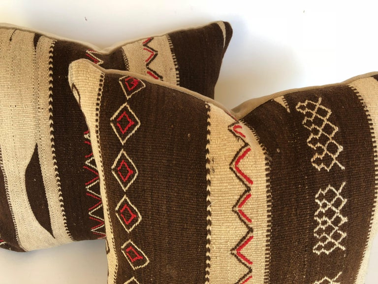 Custom Pillow by Maison Suzanne, Cut from a Vintage Moroccan Wool Ourika Rug For Sale 1