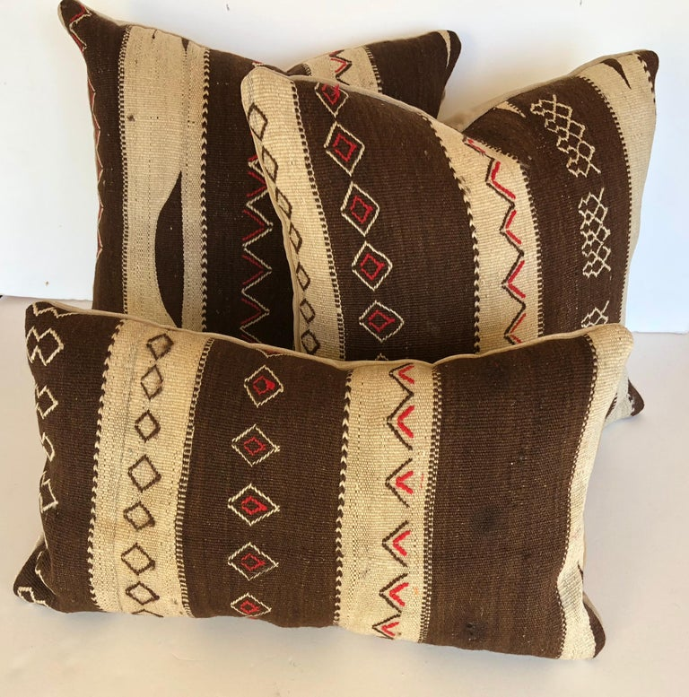 Custom Pillow by Maison Suzanne, Cut from a Vintage Moroccan Wool Ourika Rug For Sale 2