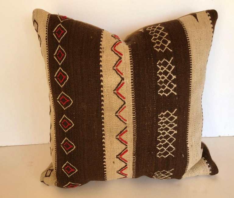 Custom Pillow by Maison Suzanne, Cut from a Vintage Moroccan Wool Ourika Rug For Sale 3
