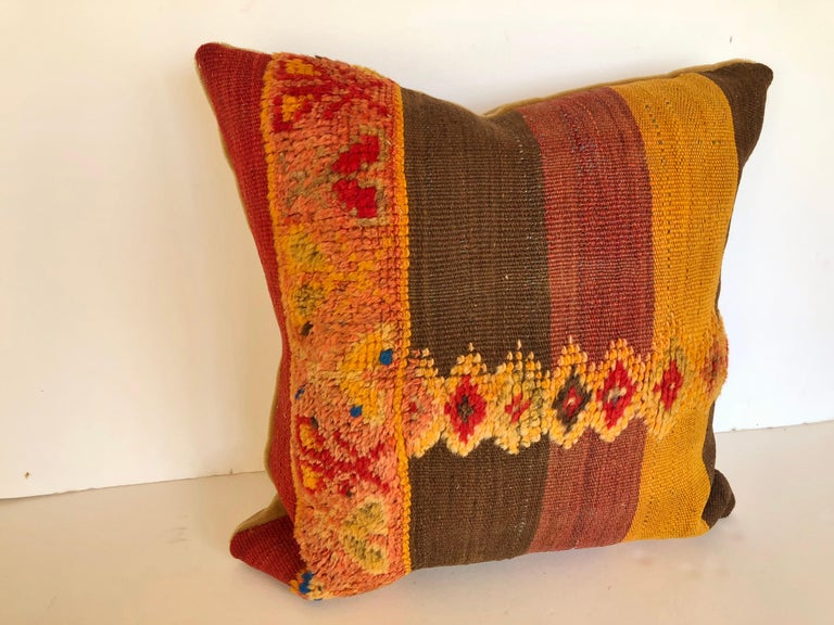 Hand-Woven Custom Pillow Cut from a Vintage Moroccan Wool Rug,  designed by Maison Suzanne For Sale