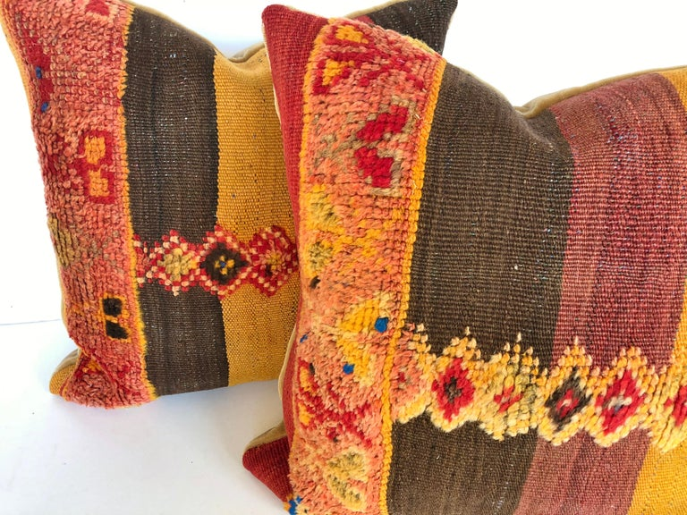 Custom Pillow Cut from a Vintage Moroccan Wool Rug,  designed by Maison Suzanne In Good Condition For Sale In Glen Ellyn, IL