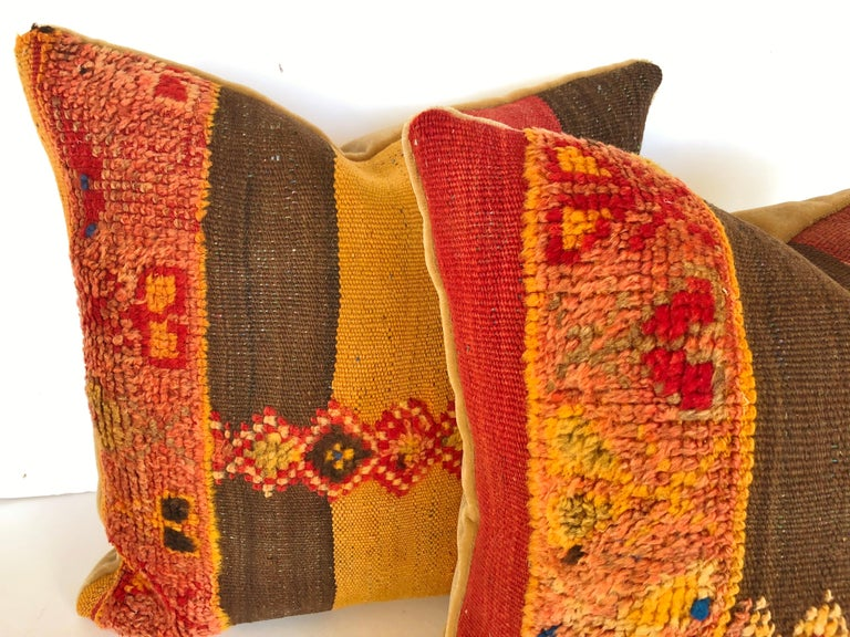 20th Century Custom Pillow Cut from a Vintage Moroccan Wool Rug,  designed by Maison Suzanne For Sale