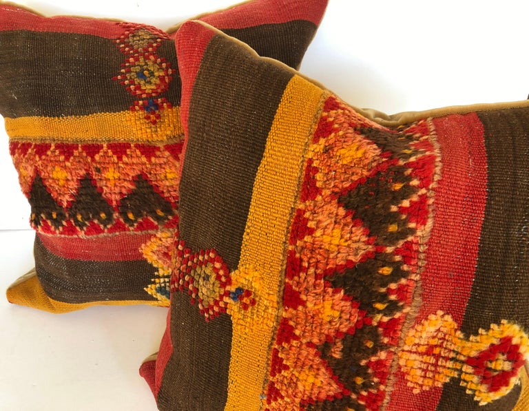 Custom Pillow Cut from a Vintage Moroccan Wool Rug,  designed by Maison Suzanne For Sale 3