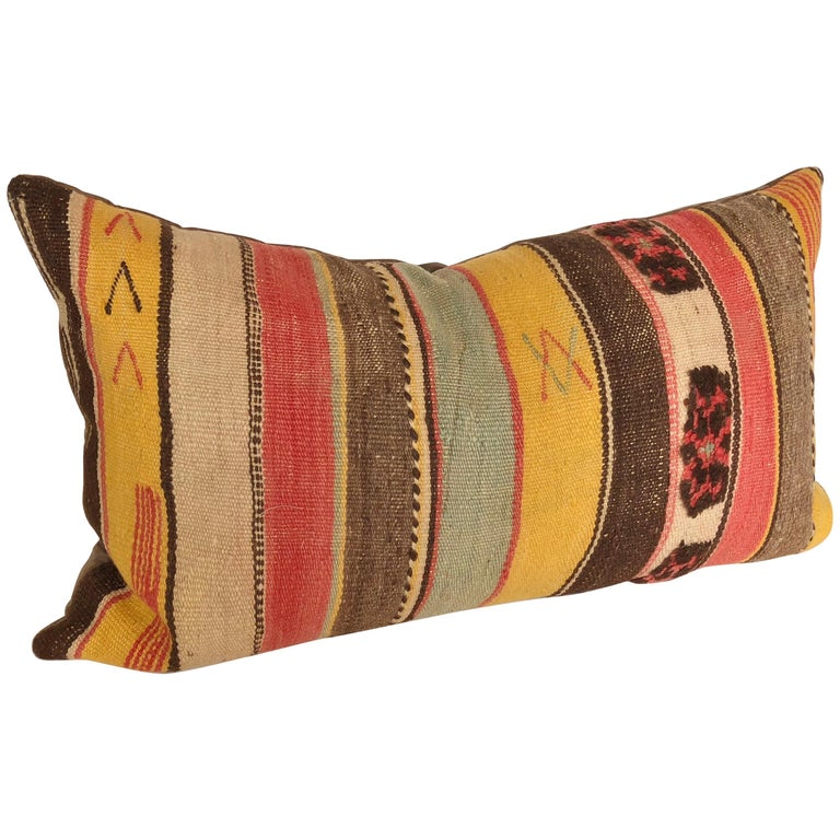Custom Pillow Cut From A Vintage Moroccan Wool Rug, Atlas