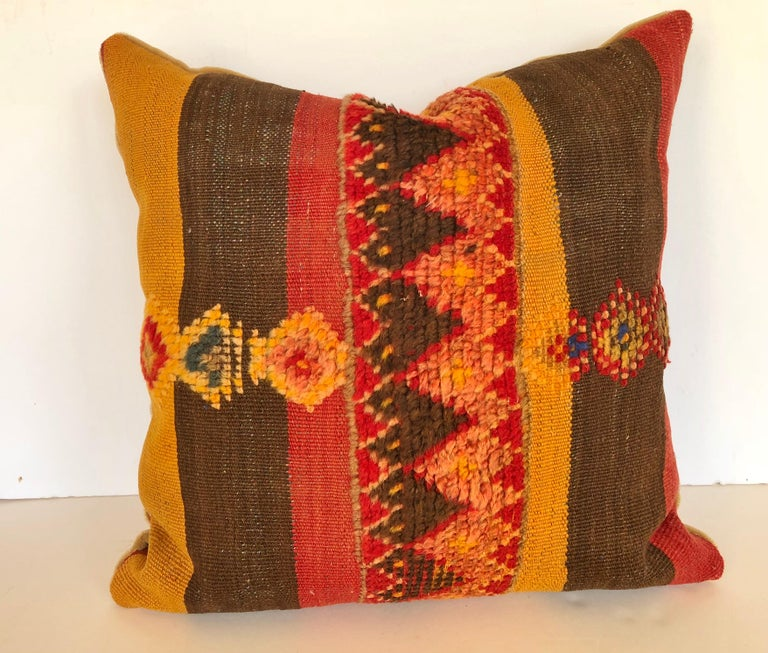 Tribal Custom Pillow by Maison Suzanne Cut from a Vintage Moroccan Wool Rug For Sale