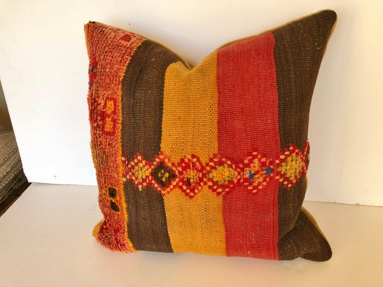 Hand-Woven Custom Pillow by Maison Suzanne Cut from a Vintage Moroccan Wool Rug For Sale
