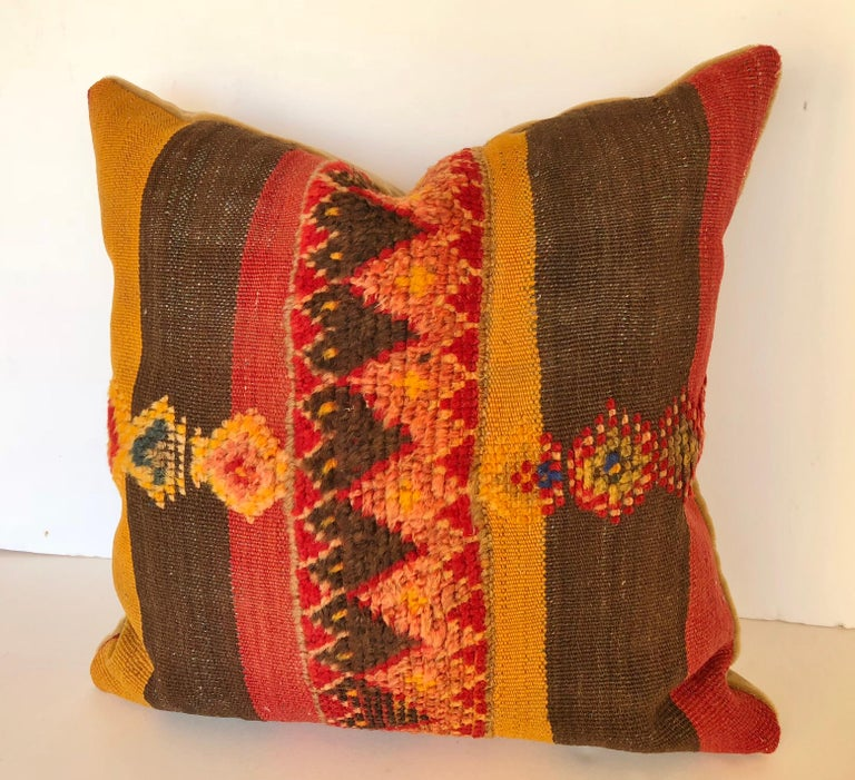 20th Century Custom Pillow by Maison Suzanne Cut from a Vintage Moroccan Wool Rug For Sale